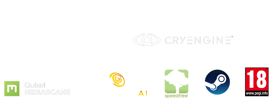 Wolcen, Cryengine, Steam, Quixel megascans, Speedtree, Pegi 16 logos